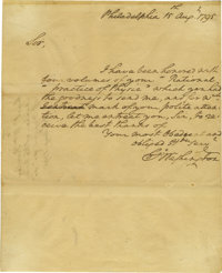 "George Washington Autograph Letter Signed ""Go: Washington"" as President, one page, 7.75"" x 9.5"". Phi..."