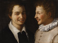 Old Master:Italian, ANNIBALE CARRACCI (Italian 1560 - 1609). Two Boys, Head andShoulders, Smiling, circa 1580-82. Oil on canvas. 14-1/8 x 1...