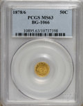California Fractional Gold: , 1878/6 50C Indian Round 50 Cents, BG-1066, High R.5, MS63 PCGS.PCGS Population (10/7). (#10895)...
