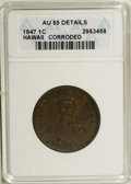 Coins of Hawaii: , 1847 1C Hawaii Cent--Corroded--ANACS. AU55 Details. NGC Census:(20/98). PCGS Population (27/201). Mintage: 100,000. (#109...