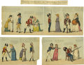 """Antiques:Posters & Prints, Isaac Cruickshank 18th Century Risqué Engravings. A fine set ofhand-colored engravings entitled """"FEMALE OPINIONS on MILITAR...(Total: 3 )"""