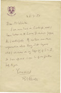 "Autographs:Authors, Edward M. Forster Autograph Letter Signed ""E M Forster"". Onepage, 4.5"" x 7"", July 26, 1950, King's College, Cambridge, ..."