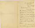 """Autographs:Celebrities, Henry Stanley Autograph Letter Signed """"Henry M. Stanley"""". Two pages, 7"""" x 4.5"""", London, August 15, 1885, discussing his..."""