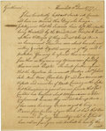"Autographs:Statesmen, [Revolutionary War] Timothy Bedel Autograph Letter Signed ""Tim.Bedel"". 1½ pages, 6"" x 7.5"", Haverhill, June 11, 1777. A..."