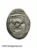 Ancients:Greek, Ancients: Etruria, Populonia. After 211 B.C. AR 20 asses (18 mm,8.05 g). Gorgoneion facing, hair bound with diademed; below, markof ...