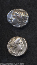 Ancients:Greek, Ancients: Lucania, Metapontion. Ca. 330-290 B.C. AR nomos (19 mm,7.84 g). Head of Demeter right. wearing barley-wreath / Grain earwi... (Total: 2 coins Item)