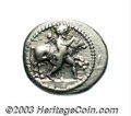 Ancients:Greek, Ancients: Thessaly, Larissa. Ca. 460-440 B.C. AR drachm (20 mm,5.99 g). Youth , with petasos tied at neck, wrestling bull right /Bri...
