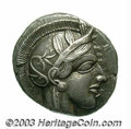 Ancients:Greek, Ancients: Attica, Athens. Ca. 449-393 B.C. AR tetradrachm (25 mm,17.12 g). Helmeted head of Athena right / Owl standing right; olive...