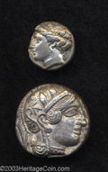 Ancients:Greek, Ancients: Attica, Athens. Ca. 449-393 B.C. AR tetradrachm (23 mm,15.28 g). Helmeted head of Athena right / Owl standing right; olive... (Total: 2 coins Item)