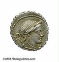 Ancients:Roman, Ancients: C. Naevius Balbus. 79 B.C. AR denarius (17 mm, 3.97 g).Diademed head of Venus right / Victory driving galloping trigaright...
