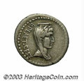 Ancients:Roman, Ancients: Brutus. 42 B.C. AR denarius (18 mm, 3.58 g). Mobilemilitary mint with Brutus in western Asia Minor. Laureate, drapedand ve...