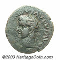 Ancients:Roman, Ancients: Spain, Carthago Nova. Tiberius and Gaius Caligula. AE 28mm (9.53 g). Laureate head of Tiberius left / Bare head of GaiusCa...
