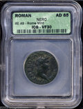 Ancients:Roman, Ancients: Nero. A.D. 54-68. AE as (26 mm).. Rome, ca. A.D. 66.Laureate head right / Victory flying left, holding in both handsshield...