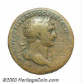 Ancients:Roman, Ancients: Trajan. A.D. 98-117. AE sestertius (33 mm, 21.44 g).Rome, A.D. 103-111. Laureate bust right, slight drapery on farshoulder...