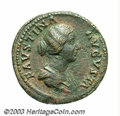 Ancients:Roman, Ancients: Faustina II, wife of Marcus Aurelius. AE sestertius (33mm, 26.12 g). Rome, A.D. 161-176. Draped bust right / Faustinastand...