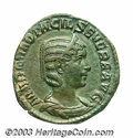 Ancients:Roman, Ancients: Otacilia Severa, wife of Philip I. AE sestertius (27 mm,18.83 g). Rome, A.D. 244-249. Diademed and draped bust right /Piet...