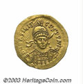 Ancients:Roman, Ancients: Basiliscus. A.D. 475-476. AV solidus (20 mm, 4.38 g).Constantinople. Diademed and helmeted three-quarter facing bust,holdi...