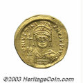 Ancients:Roman, Ancients: Justinian I. A.D. 527-565. AV solidus (20 mm, 4.31 g).Constantinople, A.D. 545-565. Diademed, helmeted and cuirassed bustf...