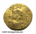Ancients:Byzantine, Ancients: Maurice Tiberius. A.D. 582-602. AV solidus (22 mm, 4.48g). Antioch. Helmeted and cuirassed facing bust, holding globuscruc...
