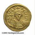 Ancients:Byzantine, Ancients: Phocas. A.D. 602-610. AV solidus (22 mm, 4.40 g).Constantinople, A.D. 607-610. Crowned and draped bust facing,holding glob...