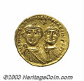Ancients:Byzantine, Ancients: Heraclius. A.D. 610-641. AV solidus (20 mm, 4.47 g).Constantinople, ca. A.D. 626-629. Crowned facing busts ofHeraclius, on...