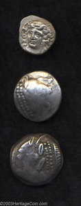 Ancients:Greek, Ancients: Lot of three Greek silver coins. Includes: Celtic. Danuberegion. Tetradrachm. Gobl, OTA 244. Near VF // Another.Gobl, ... (Total: 3 coins Item)