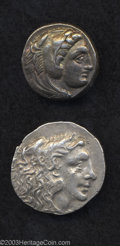 Ancients:Greek, Ancients: Lot of two Macedonian tetradrachms of Alexander III.Includes: Macedonia ('Amphipolis'), 336-ca. 323 B.C. Price 78.Toned VF... (Total: 2 coins Item)