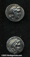 Ancients:Greek, Ancients: Lot of two plinthophoric period AR drachms, ca. 188-170B.C. from Rhodes Includes: Stasion, magistrate. Cf. SNG Keckman 625... (Total: 2 coins Item)