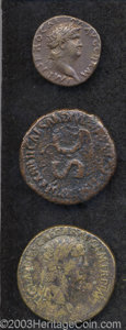 Ancients:Roman, Ancients: Lot of three early imperial AE. Includes: Livia.Sestertius. Carpentum. Fine, reverse corrosion // Claudius.Sestertius. Arc... (Total: 3 coins Item)