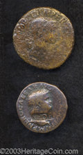 Ancients:Roman, Ancients: Lot of two countermarked early imperial AE. Includes:NERO. As. Countermark: SPQR within rectangular incuse. Coin Fine,coun... (Total: 2 coins Item)