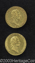 Austria: , Austria: Frances I gold Ducat - Two Pieces, KM2171, 1827-E,lustrous XF, some tiny surface marks, and 1828-A, VF-XF.. Fromthe Morr... (Total: 2 coins Item)