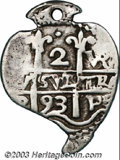 Bolivia: , Bolivia: Carlos II 2 Reales 1693-VR Corazon, KM24, VF and holed, struck on a heart-shaped planchet and very rare. 4.52 grams. Ex-Pont...