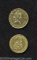 Bolivia: , Bolivia: Repubic. Gold 1/2 Scudo 1839-LM, KM100, VF+, boldly struck with an edge mount trace at the top, but still very attractive, p... (Total: 2 coins Item)