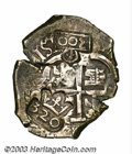 Brazil: , Brazil: 300 Reis Decree of 1688, KM64.2, crowned 300 counterstampedon a Bolivia Potosi cob 4 Reales 1666-E, which had previously be...