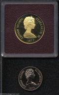 Cayman Islands: , Cayman Islands: Elizabeth II. Gold 25 Dollars 1972, KM9a, Proof,and gold 100 Dollars 1977 KM13 Queens of England, Proof.. Fromthe Morris... (Total: 2 coins Item)