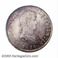 Chile: , Chile: Ferdinand VII 8 Reales 1814-FJ, KM80, bust of Ferdinand,choice AU-UNC, very boldly struck and with beautiful blue, goldand...