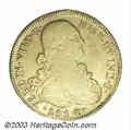 Chile: , Chile: Ferdinand VII gold 8 Escudos 1814-FJ, KM78, VF, a niceattractive coin with some luster in the peripheral legends....