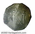 Colombia: , Colombia: Felipe IV Cob 8 Reales, KM7.1, (1646-1665), VF, portions not struck up and with medium gray patina from probable salt water ...