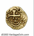 Colombia: , Colombia: Felipe V gold Cob Escudo, KM22, (1708-1746), VF and quiteboldly struck on a smallish flan. 3.27 grams. Obverse: Coat ofarm...