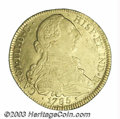 Colombia: , Colombia: Carlos III gold 8 Escudos 1785-P-SF, KM50.2a, Popayanmint, fineness reduced to 0.875. Choice XF-AU, boldly struck andhighl...