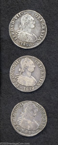 Colombia: , Colombia: Ferdinand VII 2 Reales - Lot of Three, KM70.1 1818NR-FJ, VF nicely toned, minor flaw below king's chin and 1819NR-FJ, AVF to... (Total: 3 coins Item)