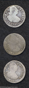 Colombia: , Colombia: Ferdinand VII 2 Reales 1822P-O, KM74, lot of three coins:Good, worn but decent, VG with very nice details and VG-Fine,attr... (Total: 3 coins Item)