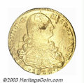 Colombia: , Colombia: Ferdinand VII gold 8 Escudos 1810NR-JF, KM66.1, bust ofCarlos IV. VF but with a large lamination on the king's face and an...