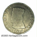 Colombia: , Colombia: Nueva Granada. 8 Reales 1819-JF, Type of KM78, unlisted in KM with the pomegranate counterstamp (KM73 counterstamped on KM6....