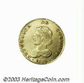 Colombia: , Colombia: Republic. Gold 2 Escudos 1825-JF Bogota, KM83, XF+, anextremely choice example with strong details and beautiful mintluste...