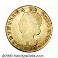 Colombia: , Colombia: Republic. Gold 8 Escudos 1834-UR Popayan, KM82.2, scarcedate, VF, softly struck obverse, but with good color and a betterr...