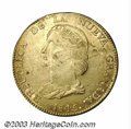 Colombia: , Colombia: Nueva Granada. Gold 16 Pesos 1845-RS Bogota, KM94.1,AU-UNC, fully lustrous, but with small planchet laminationsespecially ...