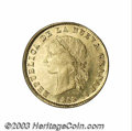 Colombia: , Colombia: Nueva Granada. Gold 10 Pesos 1858 Popayan, KM122.2, UNC,fully brilliant and a nice strike for the Popayan mint. There is a...