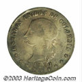 Colombia: , Colombia: Republic. 5 Decimos 1870 Popayan, KM153.6, F+/VF, deeply toned and exceptionally nice for a Popayan strike. In the date, the... (Total: 2 coins Item)