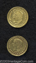 Colombia: , Colombia: Republic. Gold Peso 1872 Medellin, KM157.1, condorreverse, two pieces: Bold VF, tiny obverse rim nick and XF, lightlyclean... (Total: 2 coins Item)